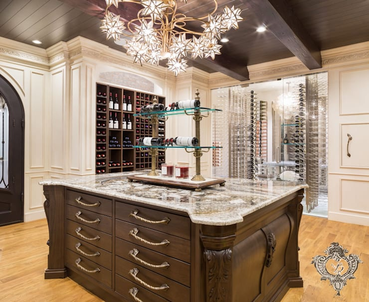 Red Wine Cellar:  Wine cellar by Kellie Burke Interiors