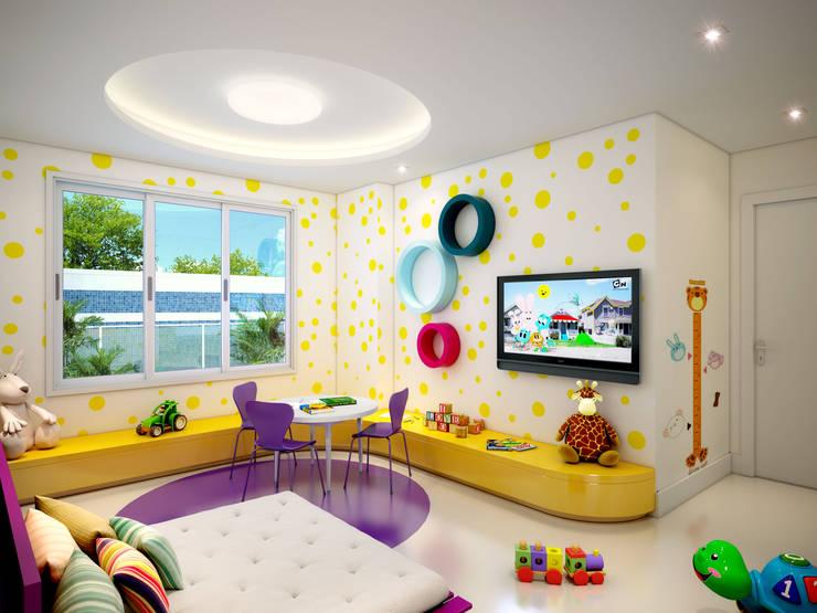 Brinquedoteca: Salas de multimídia  por Juliana de Sá Arquitetura e Design
