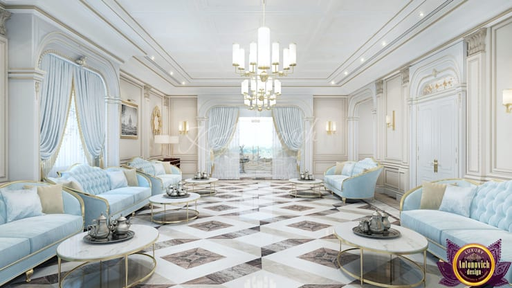 ​  Elegant style in the interiors of Katrina Antonovich:  Living room by Luxury Antonovich Design