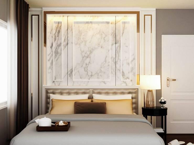 บ้านเดี่ยว Centro ราชพฤกษ์:  ห้องนอน by pyh's interior design studio