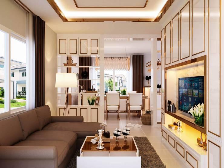 บ้านเดี่ยว Centro ราชพฤกษ์:  ห้องนั่งเล่น by pyh's interior design studio