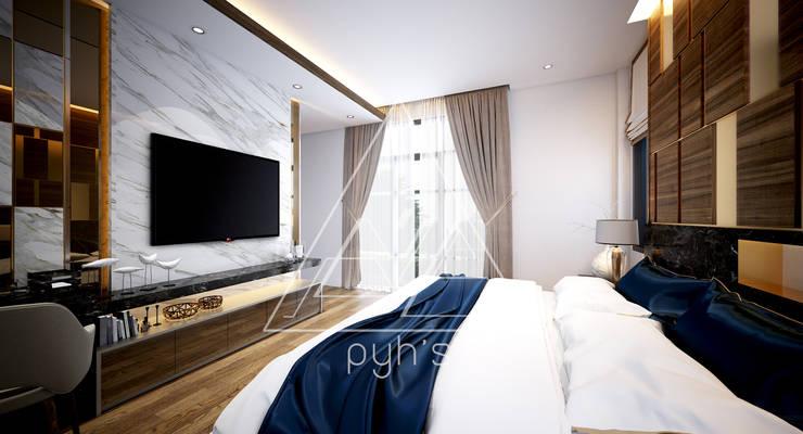 บ้านพักกาญจนบุรี:  ห้องนอน by pyh's interior design studio