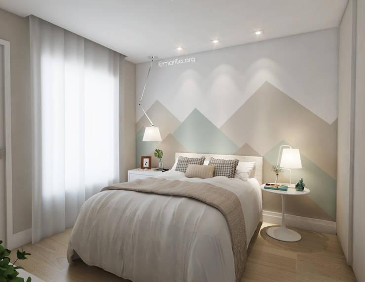 Recámaras de estilo  por Marilia Zimmermann Arquitetura e Interiores