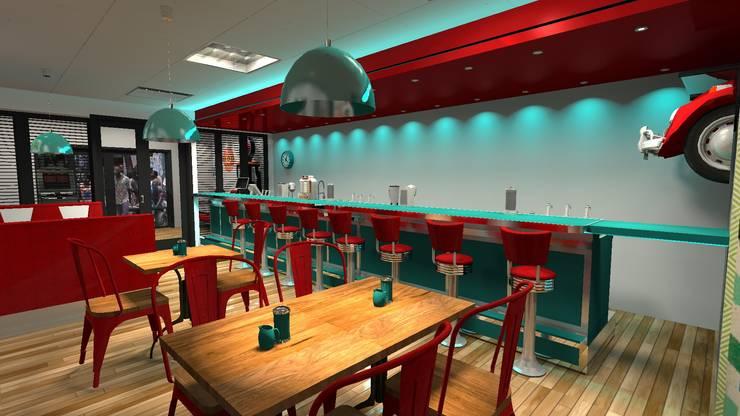 Barra del restaurant: Gastronomía de estilo  por Diseño de Locales,