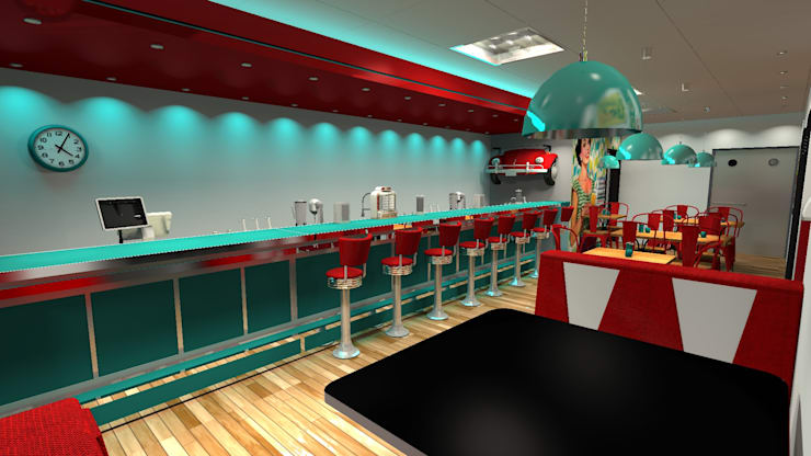 Diseño de restaurant Retro: Gastronomía de estilo  por Diseño de Locales,