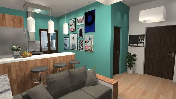 Remodelación de departamento en Milan: Livings de estilo  por Diseño de Locales,