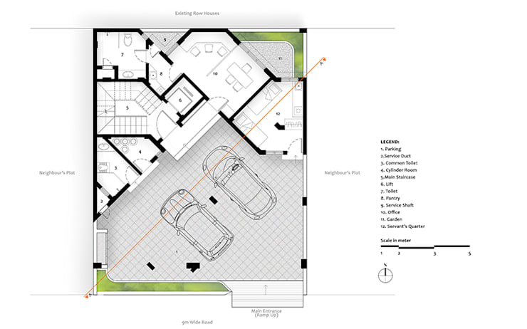 Ground Floor Plan of Residential Bungalow at Indore, Madhya Pradesh:   by SDMArchitects