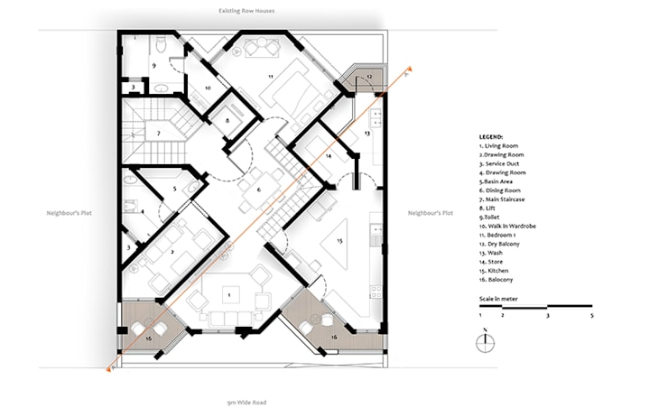 First Floor Plan of Residential Bungalow at Indore, Madhya Pradesh:   by SDMArchitects