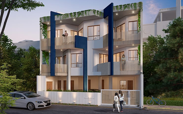 External 3D View of Residential Bungalow at Indore, Madhya Pradesh:   by SDMArchitects