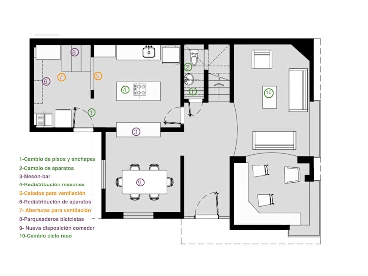 Planta 1:  de estilo  por Ensamble de Arquitectura Integral