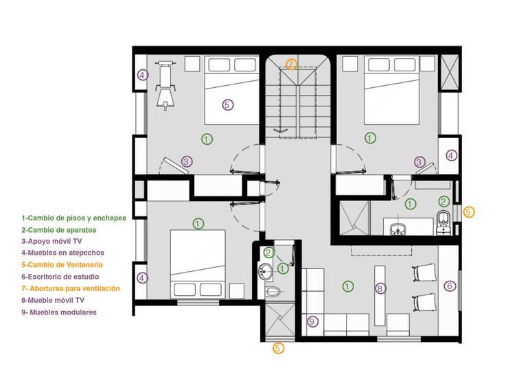 Planta 2:  de estilo  por Ensamble de Arquitectura Integral