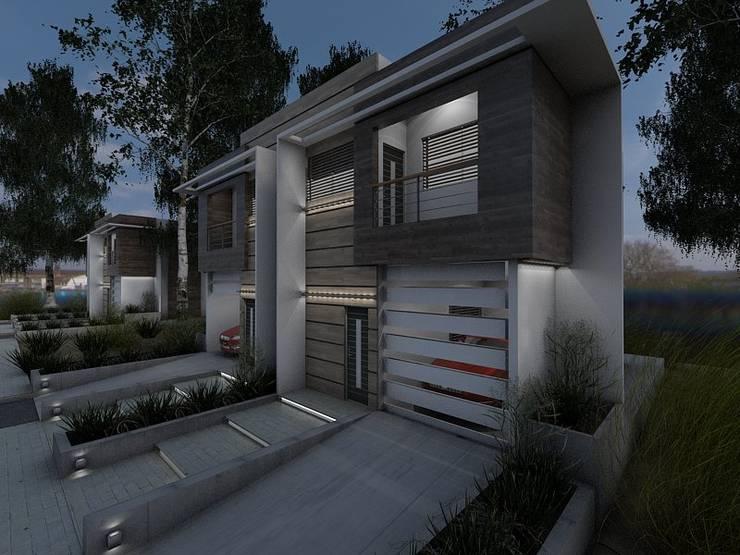 Prototipo <q>Vivienda Unifamiliar Pareada T. Townhouse</q>.: Casas unifamiliares de estilo  por Arq. Javier Chacín