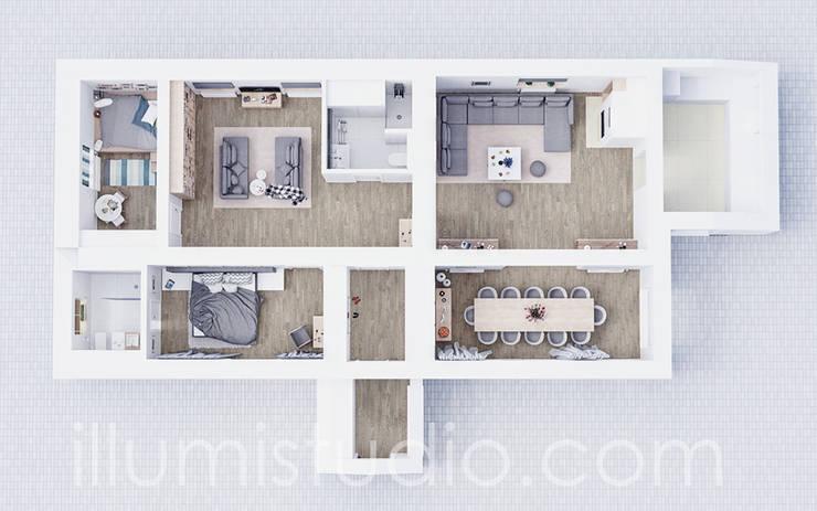 FLOORPLAN: styl , w kategorii Ściany zaprojektowany przez ILLUMISTUDIO