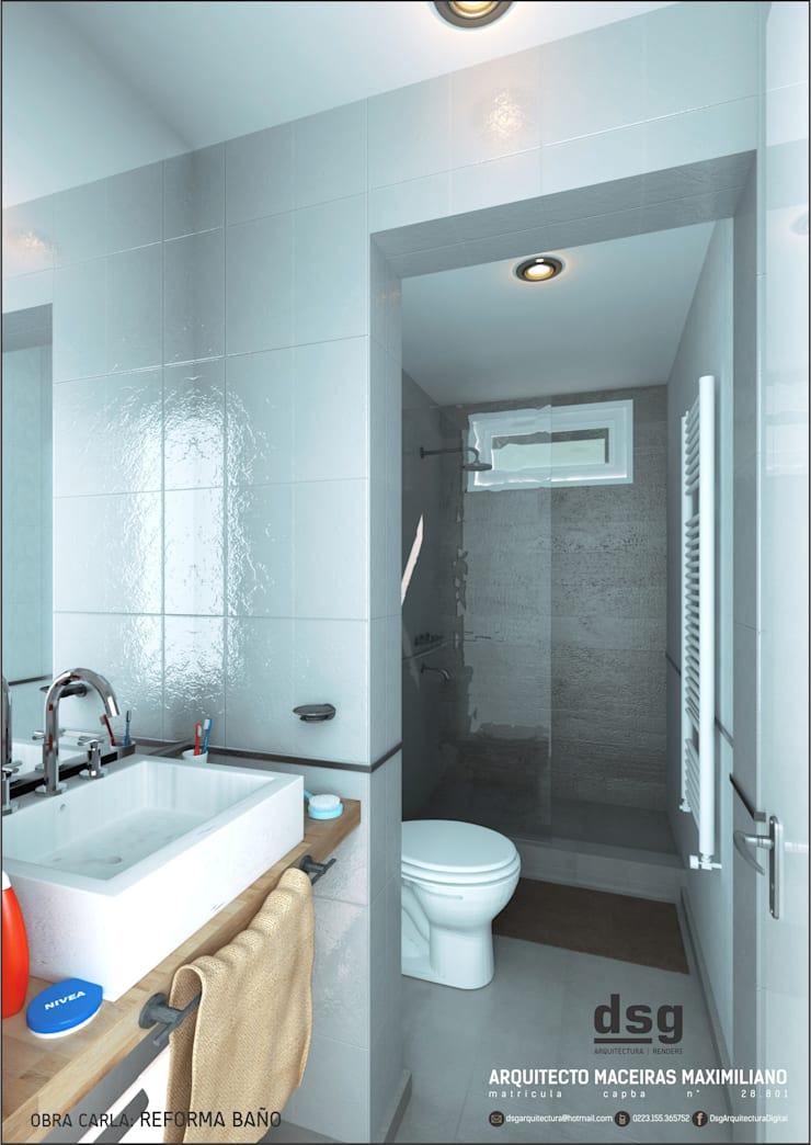 Render Reforma Baño: Baños de estilo  por Dsg Arquitectura ,