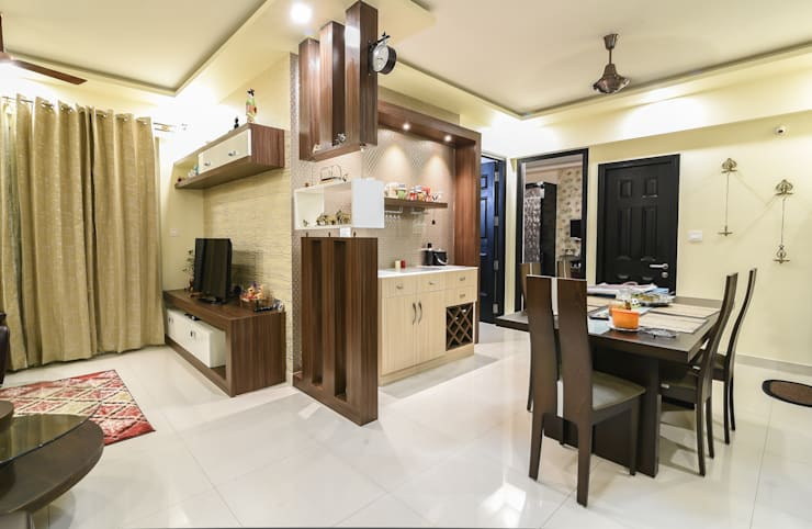Two BHK—Whitefield:  Dining room by Wenzelsmith Interior Design Pvt Ltd,Classic