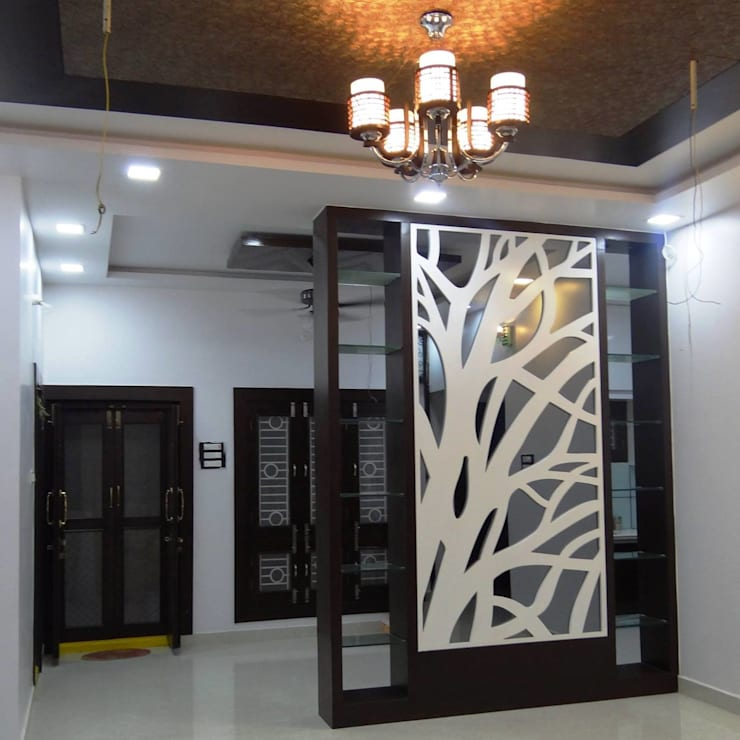 Residential House 3BHK -1600 SQFT:  Living room by AMIGOS INTERIORS