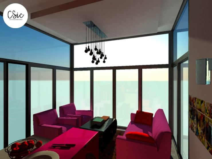 Proyecto PH Estilo Arte Pop: Livings de estilo  por C-Sic Interiorismo,