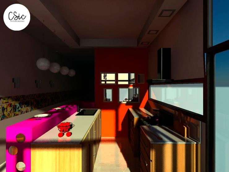 Proyecto PH Estilo Arte Pop: Cocinas de estilo  por C-Sic Interiorismo,