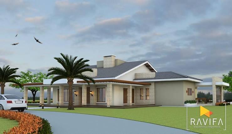 Projeto Arquitetônico – Casa de Campo: Casas familiares  por Ravifa - Arquitetura, Interiores e Engenharia,Campestre