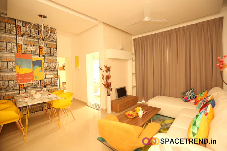 2BHK Flat :  Living room by Space Trend,Eclectic