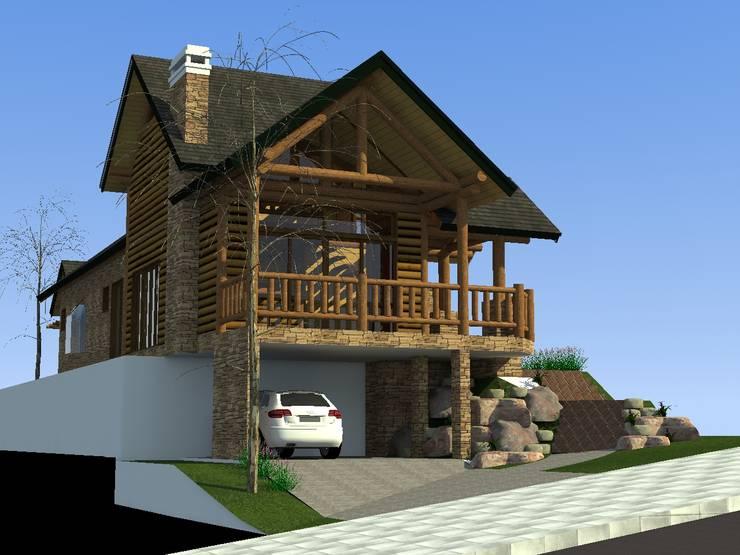 Fachada frontal casa rústica: Casas  por MEI Arquitetura