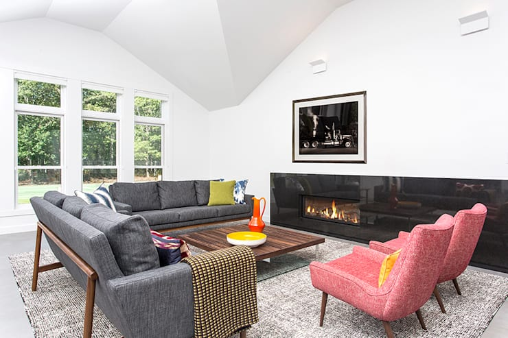 Quogue Weekend House, Quogue, NY: modern Living room by BILLINKOFF ARCHITECTURE PLLC
