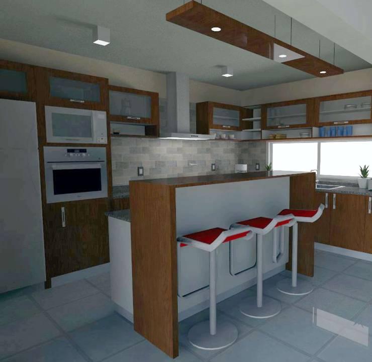 Diseño Cocina- Vivienda SM: Cocinas de estilo  por Estudio Punto y Linea,