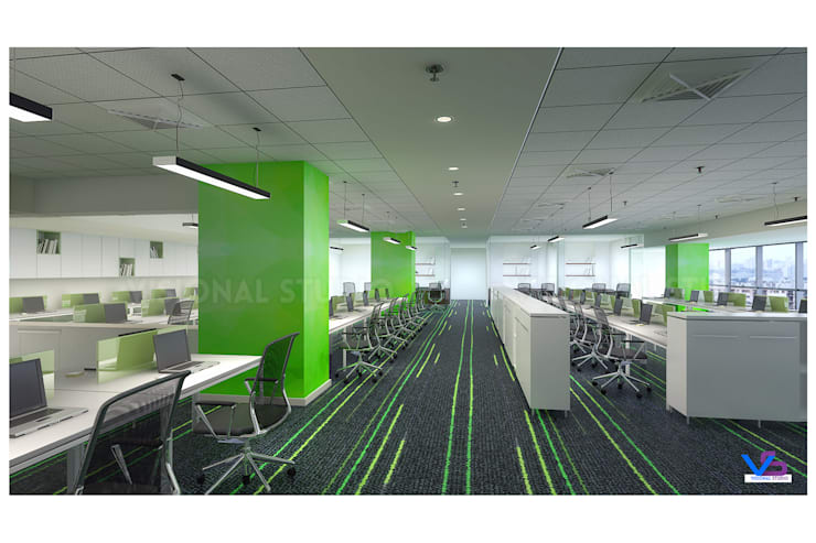 corporate Workstation design :  Study/office by VISIONAL STUDIO,Modern