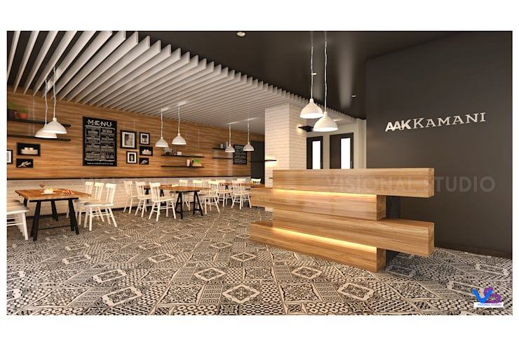 corporate  reception  design :  Study/office by VISIONAL STUDIO,Modern