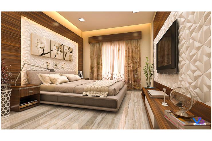 modern bedroom:  Bedroom by VISIONAL STUDIO,Modern