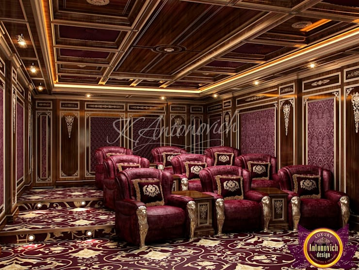 Home Cinema Design by Katrina Antonovich:  Media room by Luxury Antonovich Design, Classic