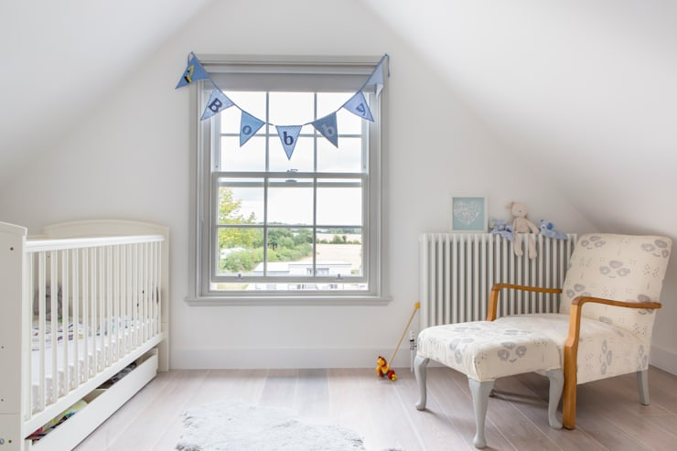 Mill house renovation and extension, Buckinghamshire:  Nursery/kid's room by HollandGreen