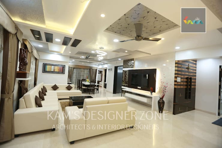 Flat Designed at Aundh of Mr. Satish Tayal:  Living room by KAM'S DESIGNER ZONE,Modern