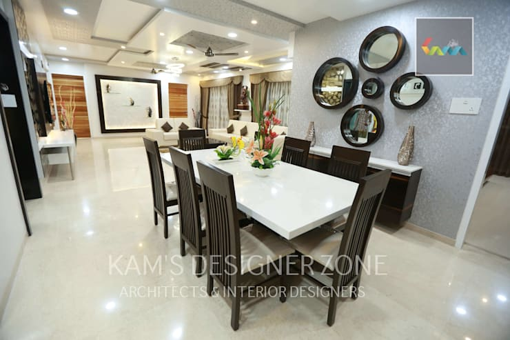 Flat Designed at Aundh of Mr. Satish Tayal:  Dining room by KAM'S DESIGNER ZONE,Modern