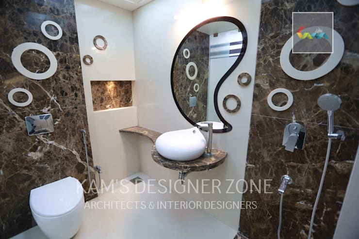 Flat Designed at Aundh of Mr. Satish Tayal:  Bathroom by KAM'S DESIGNER ZONE,Modern