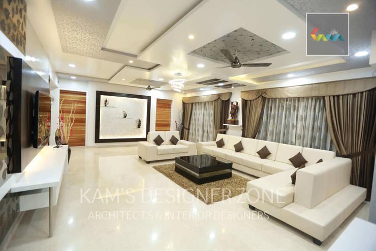 Living Room Interior Design:  Living room by KAM'S DESIGNER ZONE