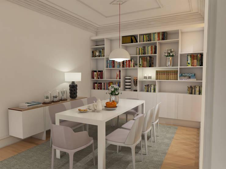 Apartamento BA14.3 - Sala de jantar - simulação 3D: Sala de jantar  por The Spacealist - Arquitectura e Interiores