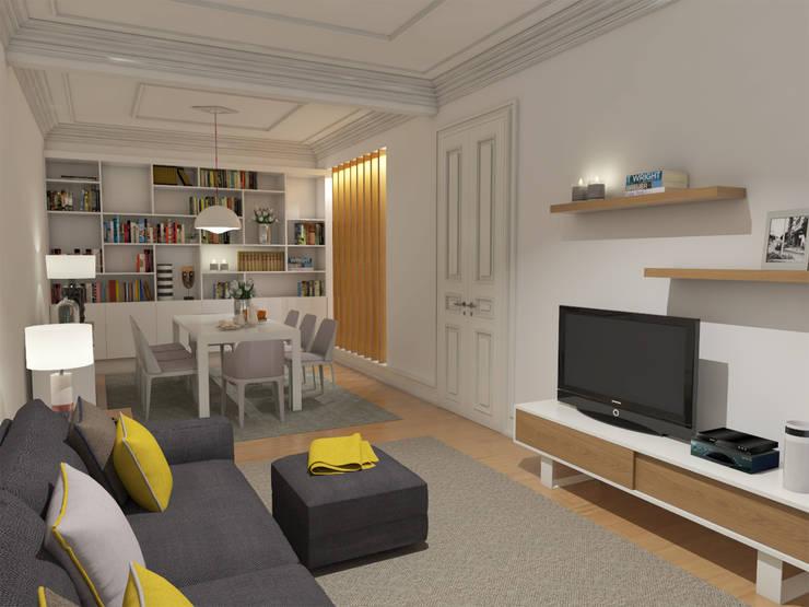 Apartamento BA14.3 - Sala de estar e jantar - simulação 3D: Sala de estar  por The Spacealist - Arquitectura e Interiores