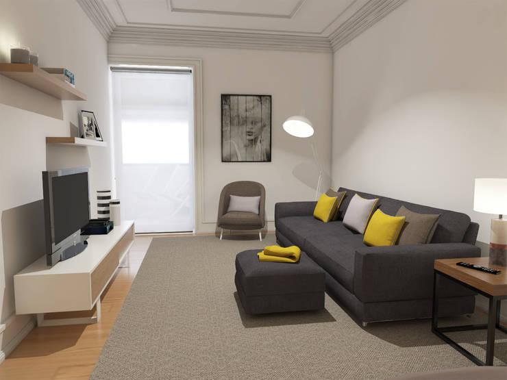 Apartamento BA14.3 - sala de estar - simulação 3D: Sala de estar  por The Spacealist - Arquitectura e Interiores