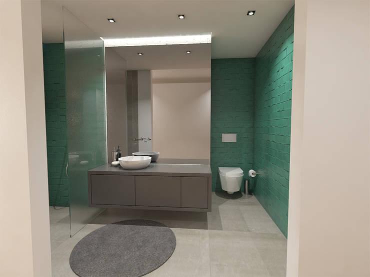 Apartamento BA14.3 - Instalação sanitária suite - simulação 3D: Casas de banho  por The Spacealist - Arquitectura e Interiores