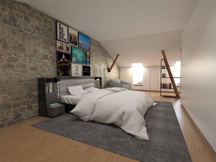 Apartamento BA14.3 - Master suite - simulação 3D: Quarto  por The Spacealist - Arquitectura e Interiores
