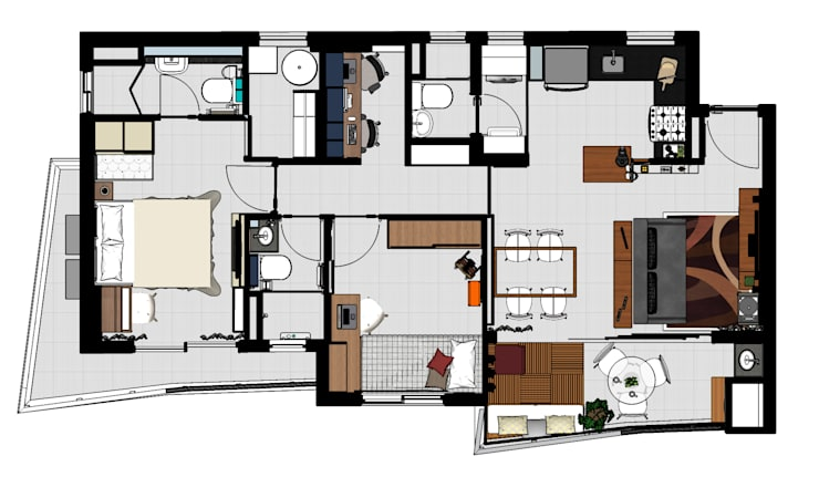 Dormitorios de estilo  por Ladrilho Urbanismo e Arquitetura