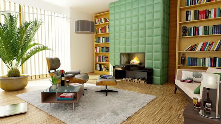 Cosy living room with fireplace:  Living room by homify demonstration profile