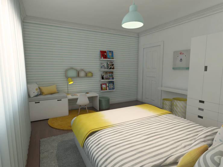 Casa MM - Quarto criança - simulação 3D: Quarto de crianças  por The Spacealist - Arquitectura e Interiores