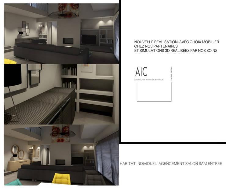 projet avant réalisation: Salon de style  par VALERIE BARTHE AiC