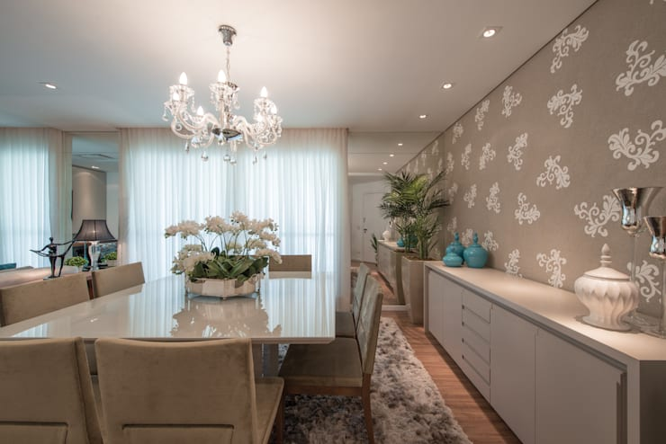 Edifício Inspiration I Ecoville: Salas de jantar  por Factus Arquitetura Planejamento Interiores