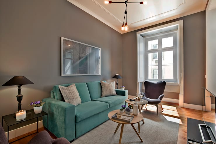 Livings de estilo  por Pureza Magalhães, Arquitectura e Design de Interiores