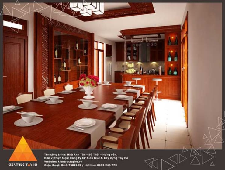 Phòng ăn:  Phòng ăn by KIẾN TRÚC TÂY HỒ