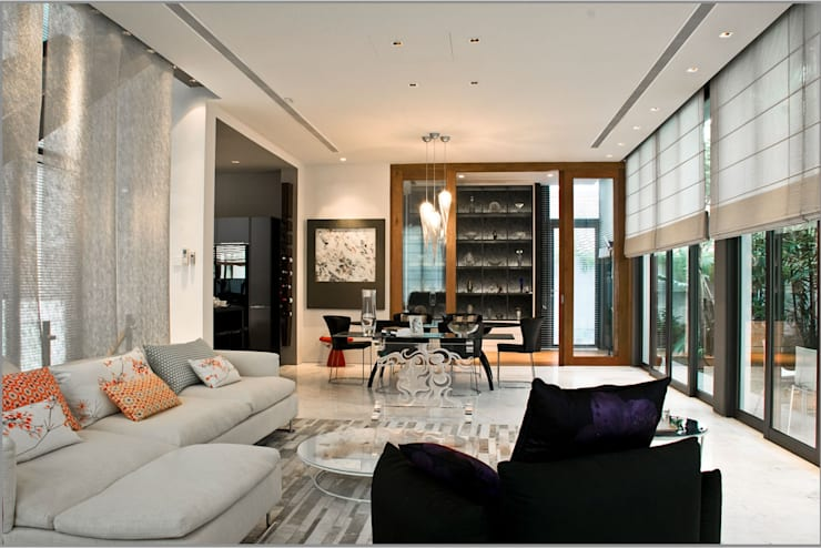 Open Concept Living Room and Dining Room: modern Living room by E&U