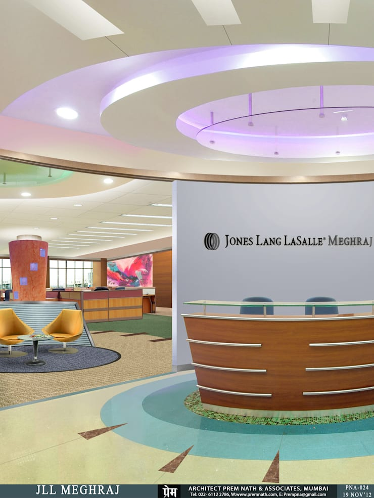 Corporate Interiors for JLL Meghraj, Mumbai:   by Prem Nath And Associates
